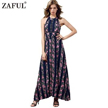 ZAFUL New Women UK Bohemian Summer Sleeveless Vintage Floral Ethnic Print Sexy backless Split hem Vestidos Beach Long Maxi Dress