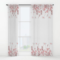 "Window curtains - Single or Double Panels, 50""x84"" each, Home, Decor, Bedroom, Kitchen, Style, Pink, White, Gift, Designer, Abstract, Modern"