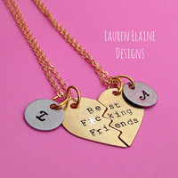 Best F-ing Friends Hand Stamped Broken Heart with Initial Charms Necklace Set- In Brass, Copper, or Aluminum