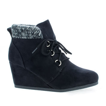 Poppet Black Gunmetal By Soda, Round Toe Lace Up Knitted Ankle Collar Wedge Booties