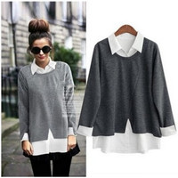 Winter Women's Fashion Mosaic Knit Tops Blouse [4918037572]