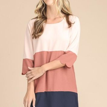 Color Block Scalloped Shift Dress - Dusty Pink