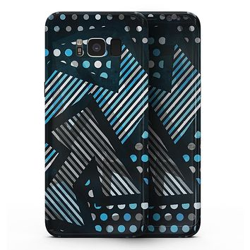 Abstract Black and Blue Overlap - Samsung Galaxy S8 Full-Body Skin Kit