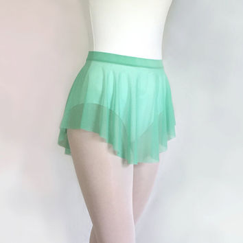 Ballet Skirt Seafoam Green Mesh- Dance Skirt SAB Style- Royall Dancewear- Mint Pull-on Skirt Skating