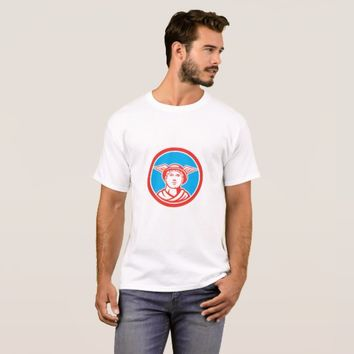 Mercury Head Winged Hat Circle Retro T-Shirt