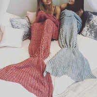 Mermaid  Wool  Knitted Blanket  B0013562