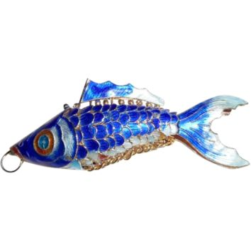 Vintage BIG Chinese Enamel Articulated Fish Pendant
