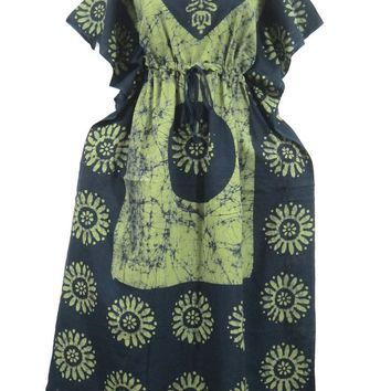 Womens Caftans Green Cotton Batik Kaftan Dress Kimono Sleeves Muumuu Gift Idea