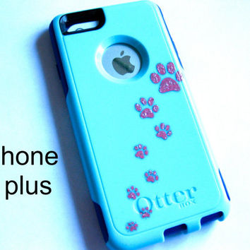 otterbox iphone 6plus case, Iphone 6plus case, Glitter case, Iphone cover, custom otterbox iphone 6plus, gift, paw print iphone 6plus case