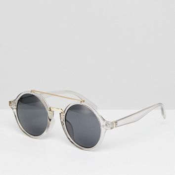 AJ Morgan Crystal Round Sunglasses With Brow Bar at asos.com