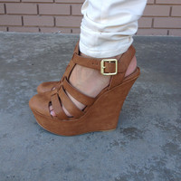Closed Toe Camel Wedges