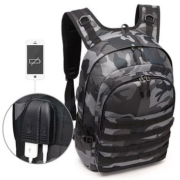 PUBG Backpack Men School Bags Mochila Pubg Battlefield Infantry Pack Camouflage Travel Canvas USB Headphone Jack Back Knapsack