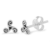 Sterling Silver Wicca Celtic Stud Earrings