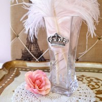 Lux Luscious Silver Crown Vanity Collection Vase