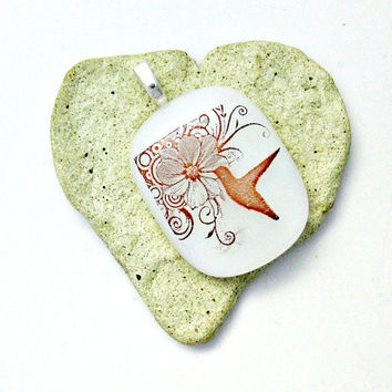 White Fused Glass Pendant - Flower and Hummingbird Pendant