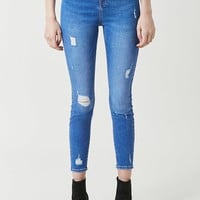 Distressed High-Waist Skinny Jeans
