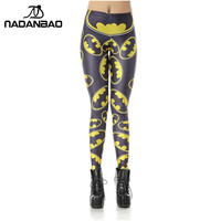 NADANBAO New Women Leggins High Waist Cartoon Batman Logo Badge Legins Printed Skinny Leggings