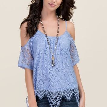 Rowan Lace Cold Shoulder Top