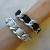 Ultra Luxe -  Ivory or Black Genuine Leather Weaved Chain bracelet