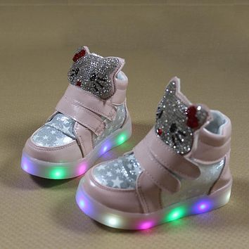2018 boys girls casual shoes with flash LED toddler children's breathable running sport shoes cartoon KT Cat glowing sneakers 84