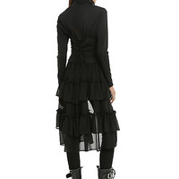 Black Sweetheart Double-Breasted Tiered Ruffle Jacket