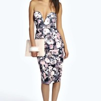 Sophie Plunge Printed Midi Dress