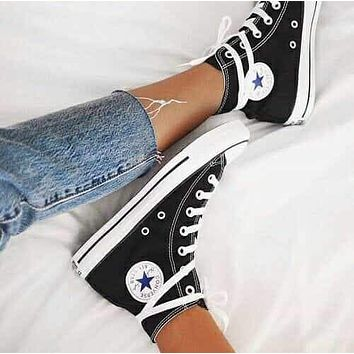 Converse high top leisure fashion men and women sports shoes F black