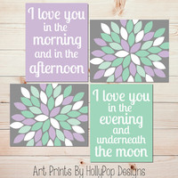 I Love You in the Morning Baby Girl Nursery Wall Art Purple Mint Gray Nursery Decor Girls Room Wall Art Modern Floral Burst Art Prints 1178