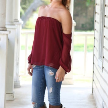 Off the Shoulder Top - Maroon