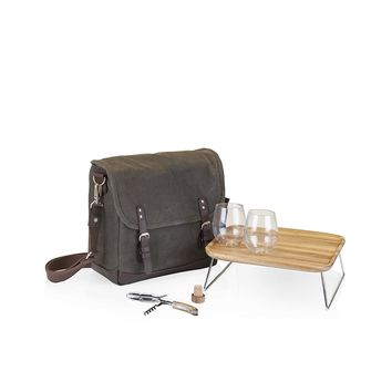 Insulated Adventure Double Wine Tote with Service for Two -- Khaki Green Brown