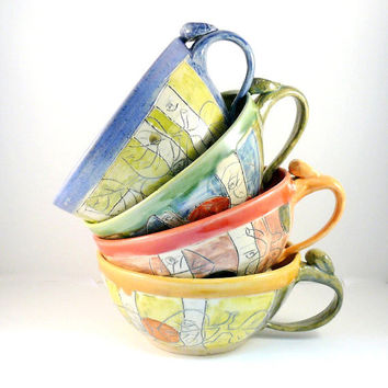 Four artistic ceramic soup mugs with handles IN STOCK cappucino latte cups - handled soup bowls carved design Graduate Gift
