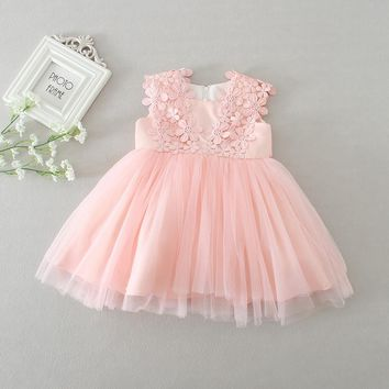 hot baby dresses girl pink lace flower baptism dress birthday party baby girl clothes vestido infantil menina 3-24M