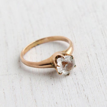 Antique 10k Rose Gold Ring - Victorian Edwardian Size 5 Clear Stone Jewelry / Prong Set Solitaire