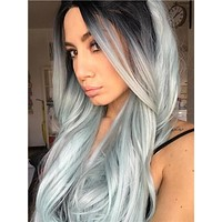Long Iced Mint Frozen Seafoam Wave Synthetic Lace Front Wig