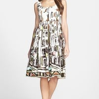 Women's kate spade new york 'landscape' print stretch cotton fit & flare dress