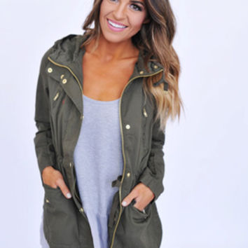 Olive Zipper Jacket