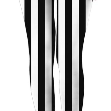 Beetlejuice leggings, black and white vertical stripes pattern, halloween style clothing