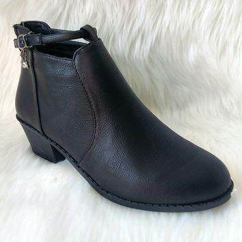 Women's Black Short Boot with Charm Detail