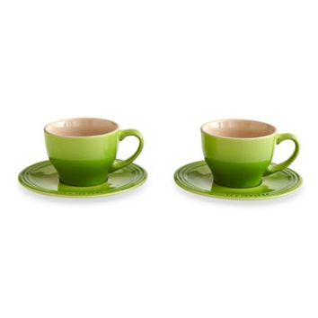 Le Creuset® Stoneware Cappuccino Cups and Saucers in Palm (Set of 2)