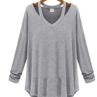 V Neck Long Sleeve Cutout Shirt