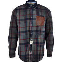River Island MensGrey check Holloway Road oil wash shirt