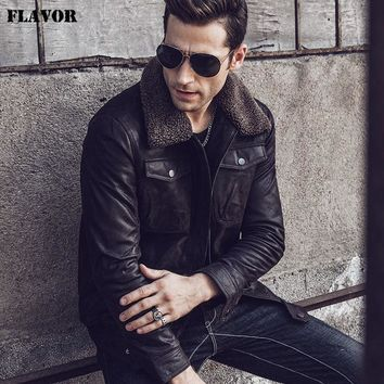 FLAVOR Men's Real Leather Jacket