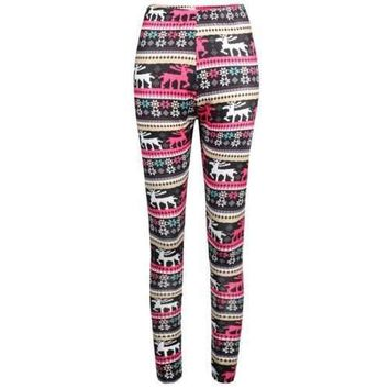 Elastic Waist Elk Print Workout Leggings - S