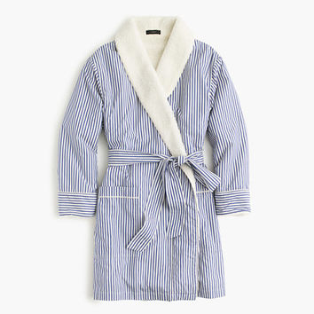 J.Crew Womens Sherpa-Lined Robe In Pinstripe Vintage End-On-End Cotton