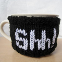 Shh mug cozy, coffee mug cozy, gift for coffee lovers, large mug cozy, knitted mug cozy, handmade, black cozy, Oversized mug Bowl style mug
