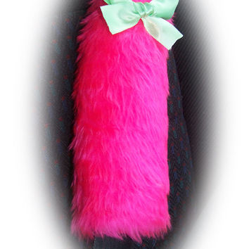 Hot barbie pink car seatbelt pads faux fur fluffy fuzzy furry car cover 1 pair & Mint green satin bow covers girly girl cute pretty bright