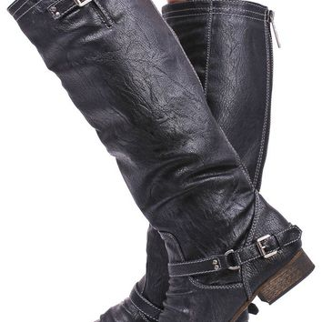 BLACK FAUX LEATHER BUCKLE RUCHED KNEE HIGH RIDER BOOTS