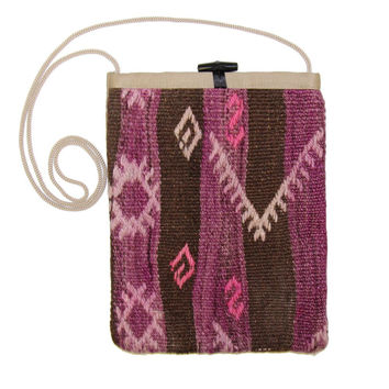 Kayce Pink/Brown Striped Pattern Kilim Bag