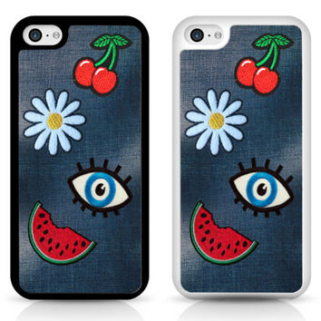 Denim Patch Jeans Eye Watermelon Flower cherries Cover Case for iPhone Samsung | eBay