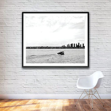 Towards the City, Wall Art Print, Black and White Photograph,  Landscape Print, City, Photographic Print, Boat Print, Toronto, Home decor